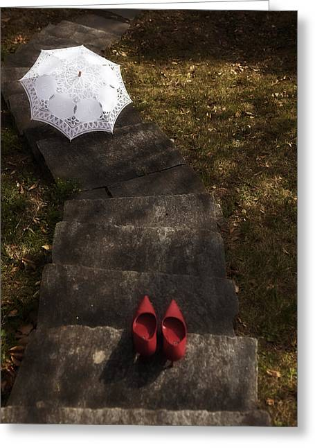 Chic Greeting Cards - Stairs With Shoes And Parasol Greeting Card by Joana Kruse