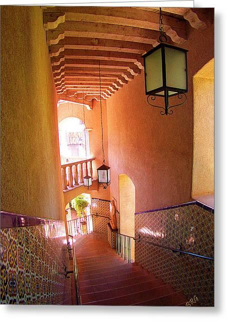 Flight Of Stairs Greeting Cards - Stairway Greeting Card by Ben and Raisa Gertsberg