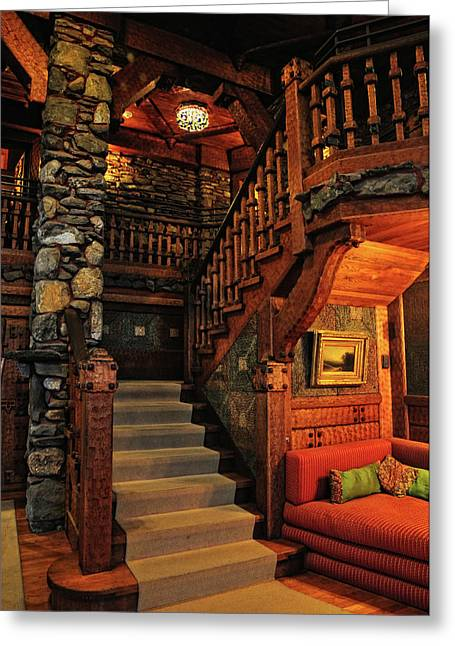 Gillette Castle Greeting Cards - Stairway In Gillette Castle Connecticut Greeting Card by Dave Mills