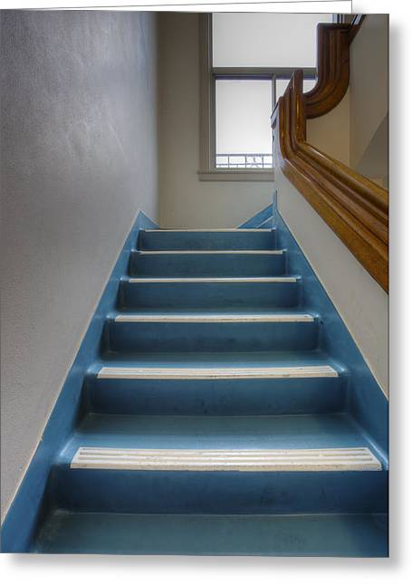 Residential Structure Greeting Cards - Stairway In Vintage Building Greeting Card by Douglas Orton