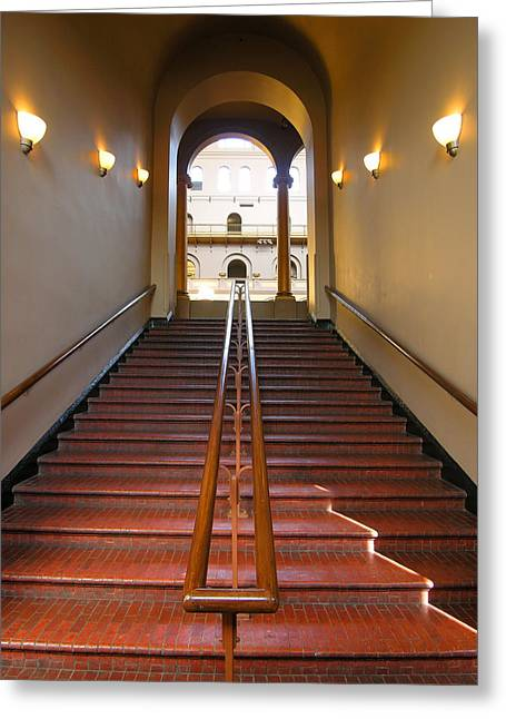 National Building Museum Greeting Cards - Stairway to Balcony Greeting Card by Steven Ainsworth
