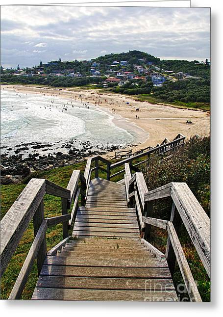 Macquarie Greeting Cards - Stairway to Beach Greeting Card by Kaye Menner