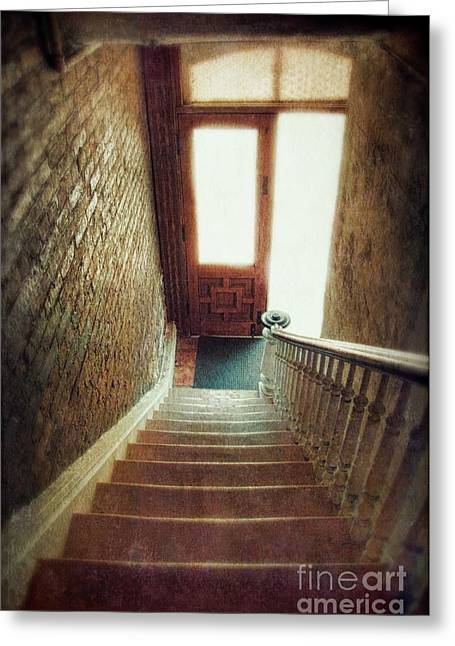 Haunted Woods Greeting Cards - Stairway to Door Greeting Card by Jill Battaglia