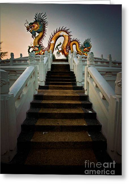 View Pyrography Greeting Cards - Stairway to the Dragon. Greeting Card by Phaitoon Chooti