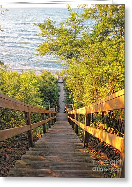 Wooden Stairs Greeting Cards - Stairway to the Inland Sea Greeting Card by Christopher Purcell