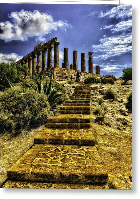 Old Relics Greeting Cards - Stairway to the Past Greeting Card by Madeline Ellis