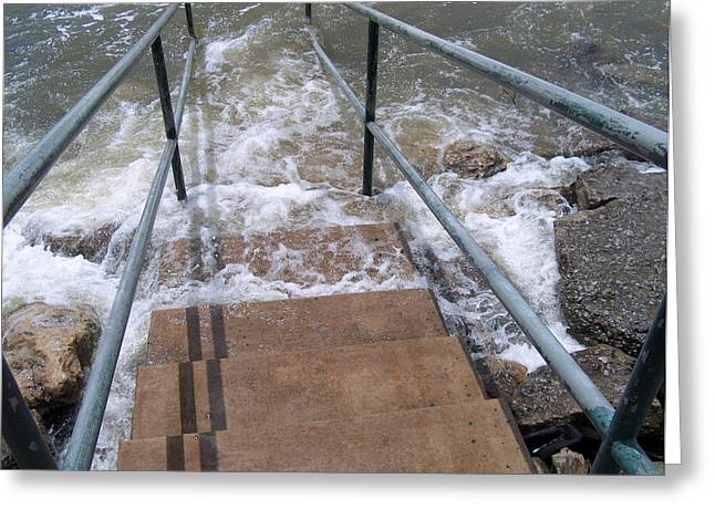River Flooding Greeting Cards - Stairway to the River Greeting Card by Robyn Stacey