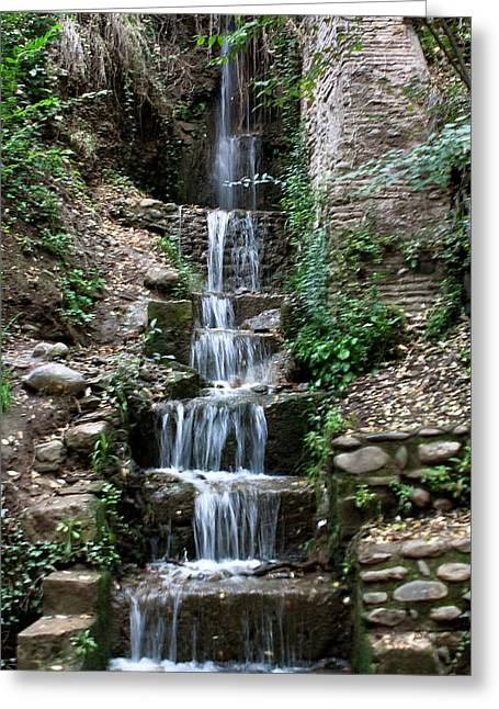 Best Sellers -  - Southern Province Greeting Cards - Stairway Waterfall Greeting Card by Lorraine Devon Wilke