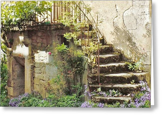 French Doors Greeting Cards - Stairway With Flowers Flavigny France Greeting Card by Marilyn Dunlap