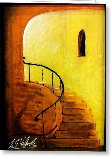 Iron Pastels Greeting Cards - Stairwell Greeting Card by Lee Halbrook