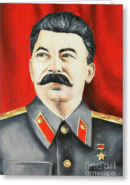 Terrorist Paintings Greeting Cards - Stalin Greeting Card by Michal Boubin