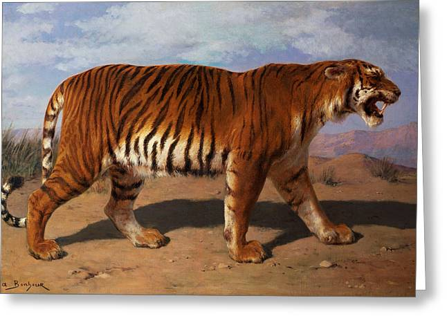 Roar Greeting Cards - Stalking Tiger Greeting Card by Rosa Bonheur