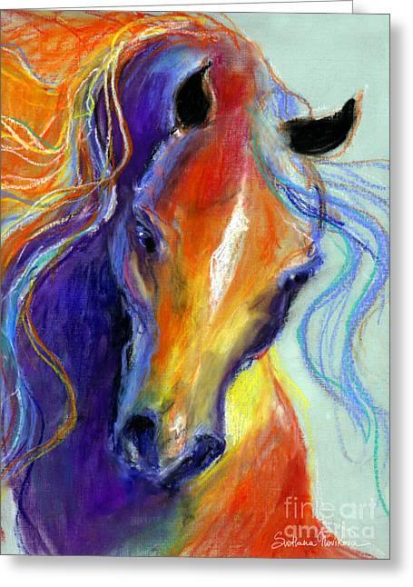 Rainbows Drawings Greeting Cards - Stallion Horse painting Greeting Card by Svetlana Novikova