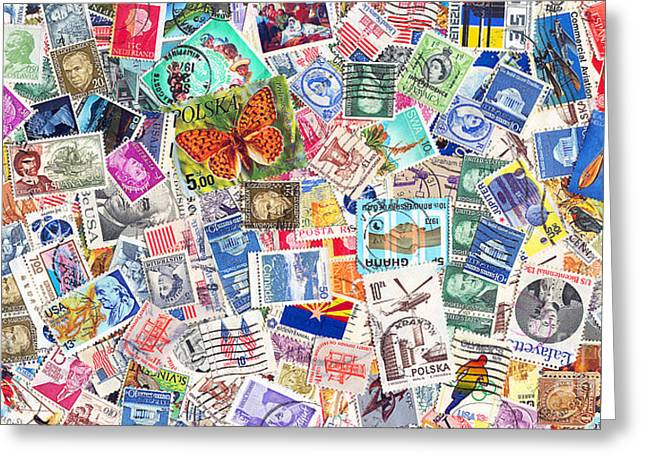 Old Stamps Greeting Cards - Stamp Collection . 2 to 1 Proportion Greeting Card by Wingsdomain Art and Photography