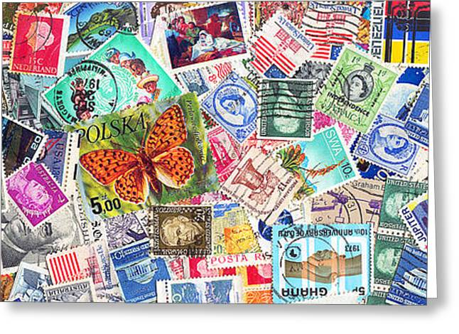 Old Stamps Greeting Cards - Stamp Collection . 3 to 1 Proportion Greeting Card by Wingsdomain Art and Photography