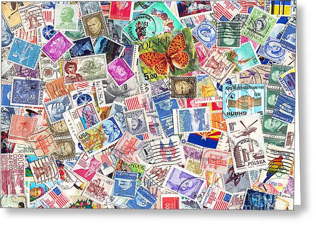 Postal Greeting Cards - Stamp Collection . 8 to 10 Proportion Greeting Card by Wingsdomain Art and Photography