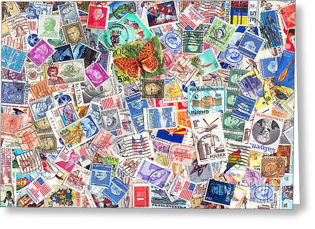 Old Stamps Greeting Cards - Stamp Collection . 8 to 12 Proportion Greeting Card by Wingsdomain Art and Photography