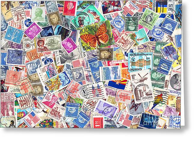 Postal Greeting Cards - Stamp Collection . 9 to 12 Proportion Greeting Card by Wingsdomain Art and Photography