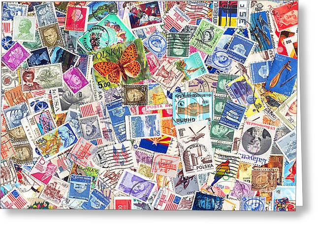 Old Stamps Greeting Cards - Stamp Collection . 9 to 16 Proportion Greeting Card by Wingsdomain Art and Photography