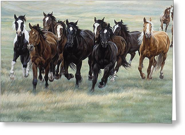 Farm Horse Greeting Cards - Stampede Greeting Card by JQ Licensing