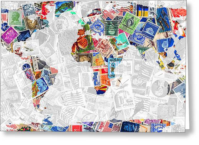 Postal Greeting Cards - Stamps of The World Map . v2 Greeting Card by Wingsdomain Art and Photography