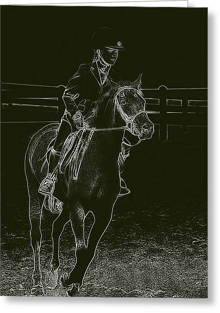 Horse And Riders Greeting Cards - Stand Out Glowing Duo Greeting Card by Karol  Livote