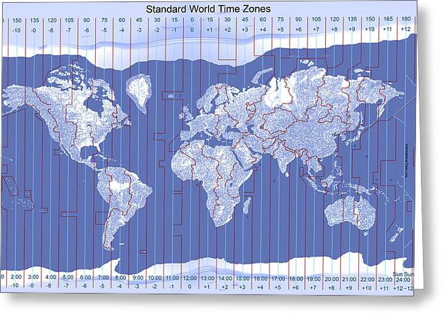 Carol And Mike Werner Greeting Cards - Standard World Time Zones Greeting Card by Carol and Mike Werner