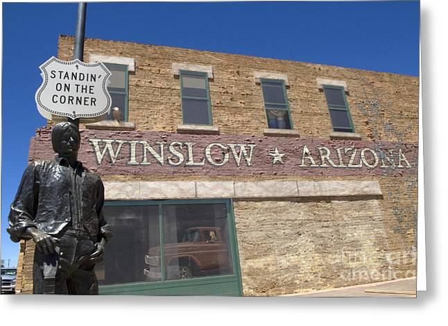 Sights Along Route 66 Greeting Cards - Standin On The Corner In Winslow Arizona Greeting Card by Bob Christopher