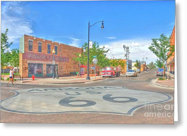 Kelly Greeting Cards - Standin on the Corner Route 66 Greeting Card by John Kelly