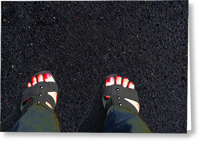 Open Toe Shoes Greeting Cards - Standing in Space Greeting Card by Karol  Livote