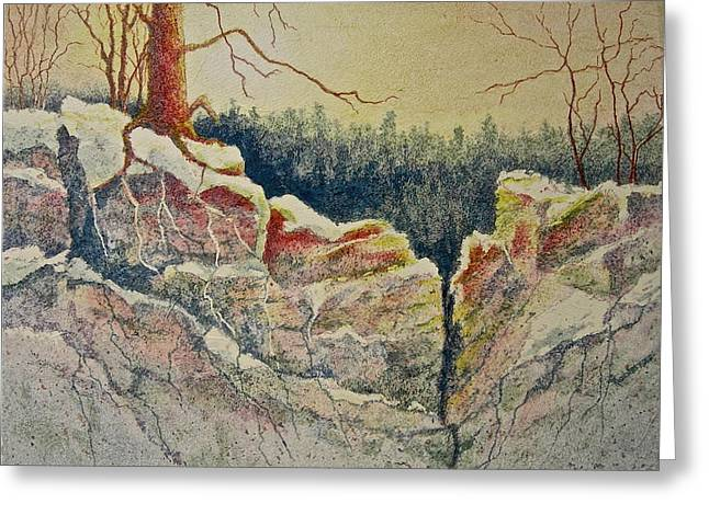 Tree Roots Paintings Greeting Cards - Standing in Stillness Greeting Card by Carolyn Rosenberger