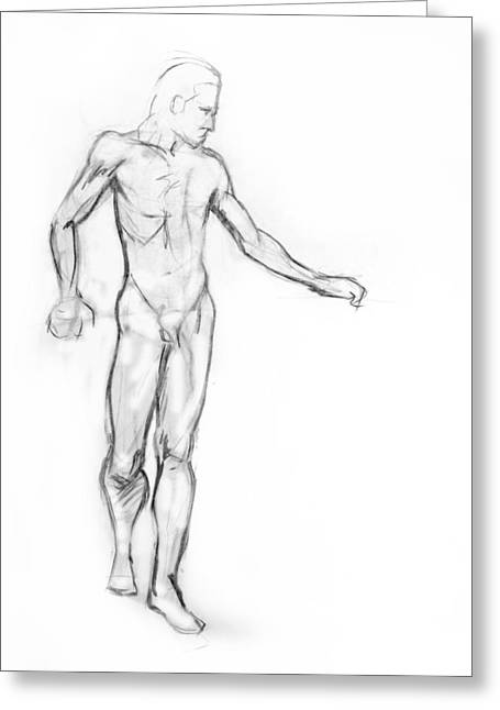 Strength Drawings Greeting Cards - Standing Male Nude Greeting Card by Adam Long