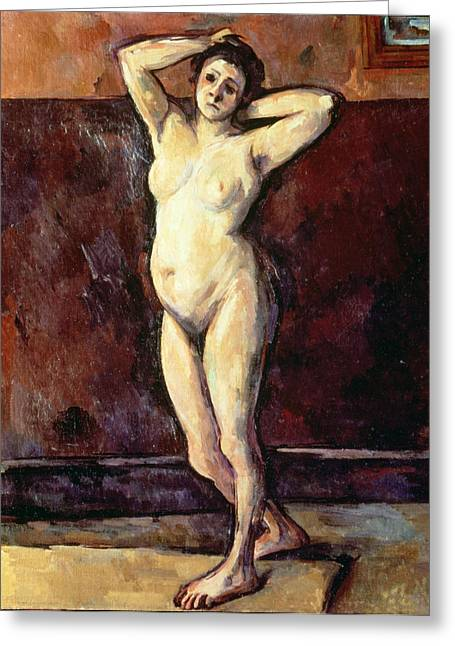Head Stand Paintings Greeting Cards - Standing Nude Woman Greeting Card by Cezanne