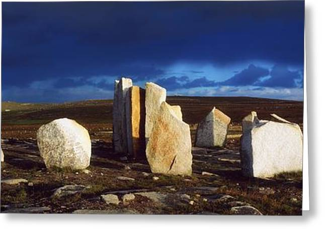 Mullet Greeting Cards - Standing Stones, Blacksod Point, Co Greeting Card by The Irish Image Collection