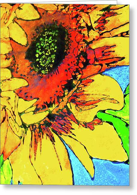 Gold Lime Green Greeting Cards - Standing Tall Greeting Card by Laura  Grisham