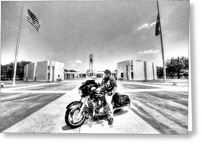 Half Staff Greeting Cards - Standing Watch at the Houston National Cemetery Greeting Card by David Morefield