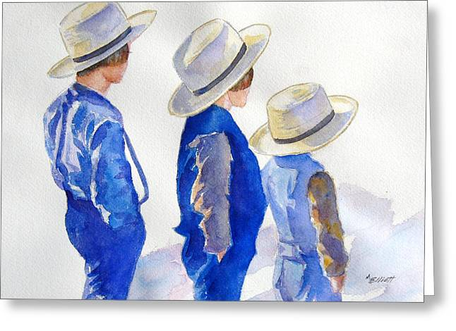 Amish Greeting Cards - Standing Watch Greeting Card by Marsha Elliott