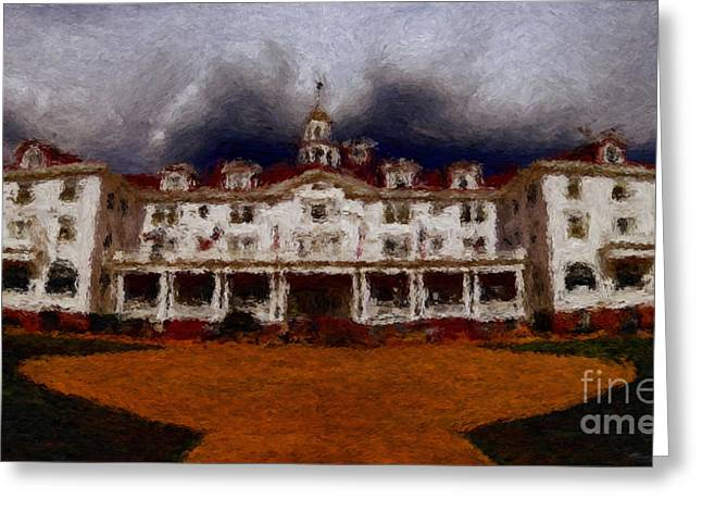 Old Inns Photographs Greeting Cards - Stanley Hotel Painting Greeting Card by Donna Van Vlack