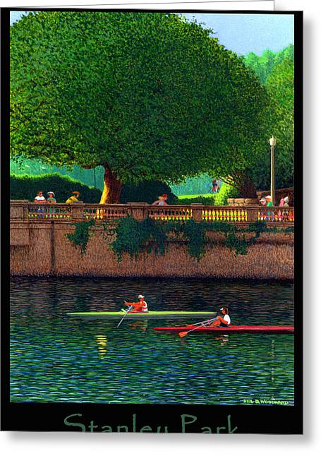 Burrard Inlet Greeting Cards - Stanley Park Scullers Poster Greeting Card by Neil Woodward