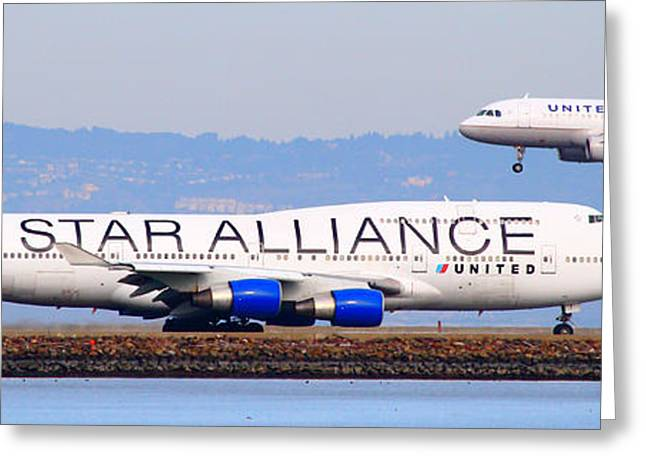 United Airlines 747 Greeting Cards - Star Alliance Airlines And United Airlines Jet Airplanes At San Francisco Airport SFO . Long Cut Greeting Card by Wingsdomain Art and Photography