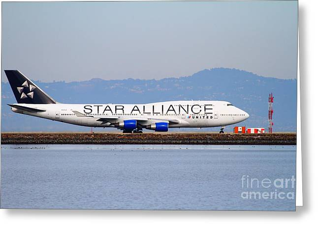 Airplane Landing Greeting Cards - Star Alliance Airlines Jet Airplane At San Francisco International Airport SFO . 7D12199 Greeting Card by Wingsdomain Art and Photography
