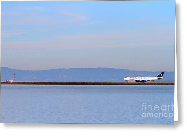 Airplane Landing Greeting Cards - Star Alliance Airlines Jet Airplane At San Francisco International Airport SFO . 7D12208 Greeting Card by Wingsdomain Art and Photography