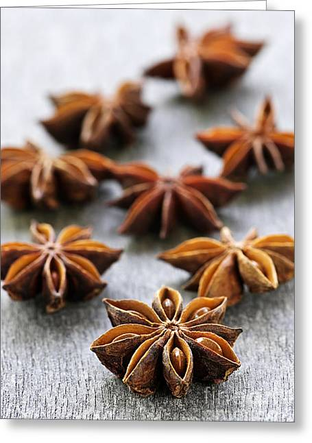 Spicy Greeting Cards - Star anise fruit and seeds Greeting Card by Elena Elisseeva