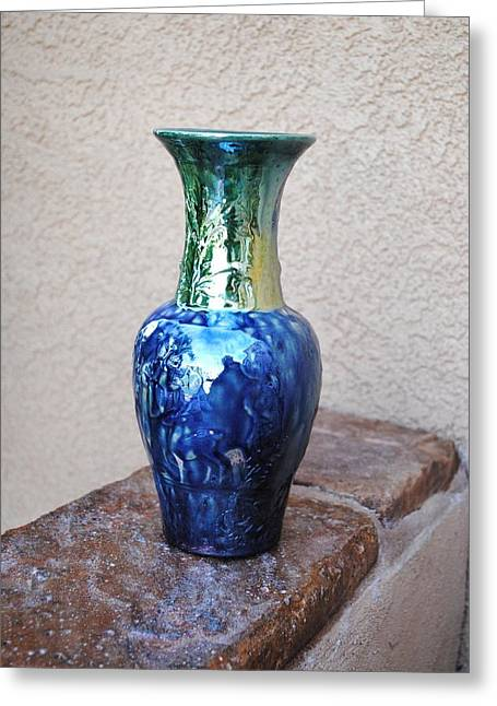 Raku Ceramics Greeting Cards - Star Blue Vase Greeting Card by John Johnson