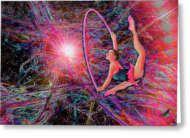 Hoops Mixed Media Greeting Cards - Star Dancer Greeting Card by Michael Durst