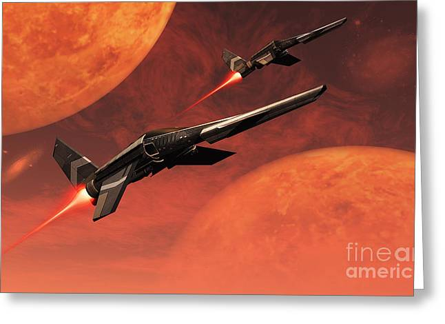 Interstellar Space Greeting Cards - Star Fighters On A Routine Space Patrol Greeting Card by Mark Stevenson