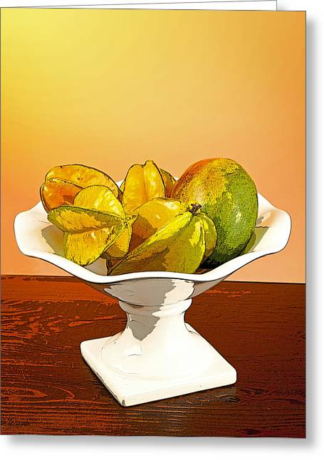 Mango Greeting Cards - Star Fruit and Mango Greeting Card by Michelle Wiarda