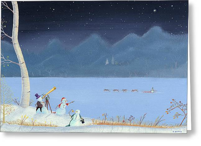 Christmas Art Greeting Cards - Star Gazing Snowmen Greeting Card by Thomas Griffin