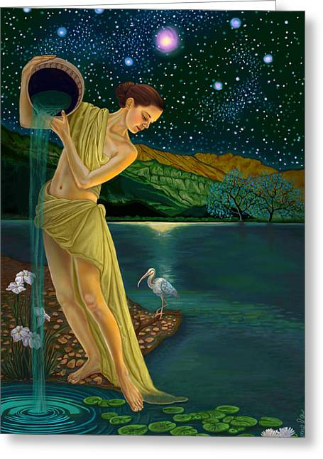 Goddess Print Greeting Cards - Star Goddess Greeting Card by Pamela Wells
