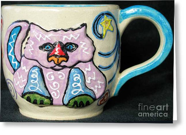 Whimsical. Ceramics Greeting Cards - Star Kitty Mug Greeting Card by Joyce Jackson
